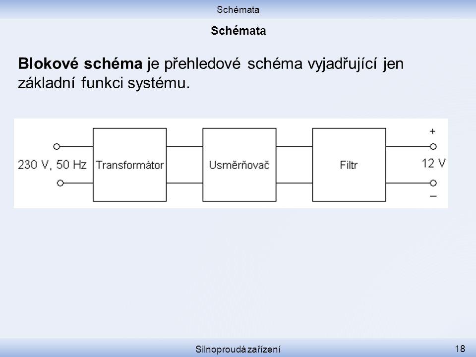 Schémata Schémata. Blokové schéma je přehledové schéma vyjadřující jen základní funkci systému.