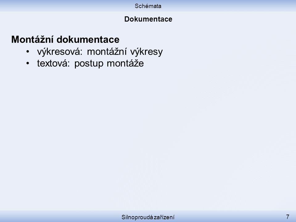 výkresová: montážní výkresy textová: postup montáže