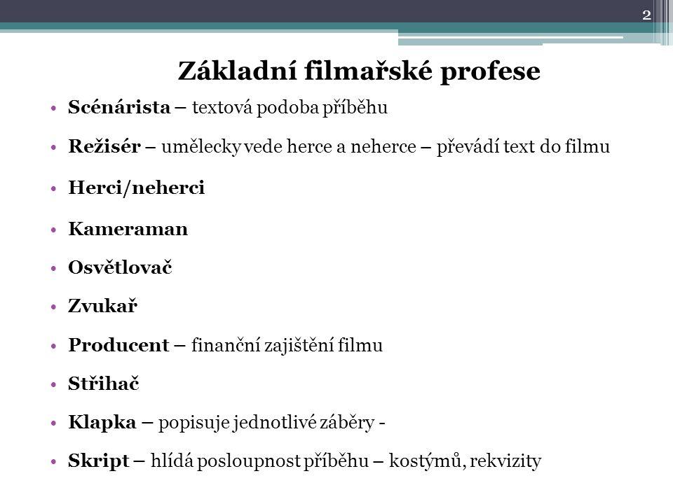 Základní filmařské profese