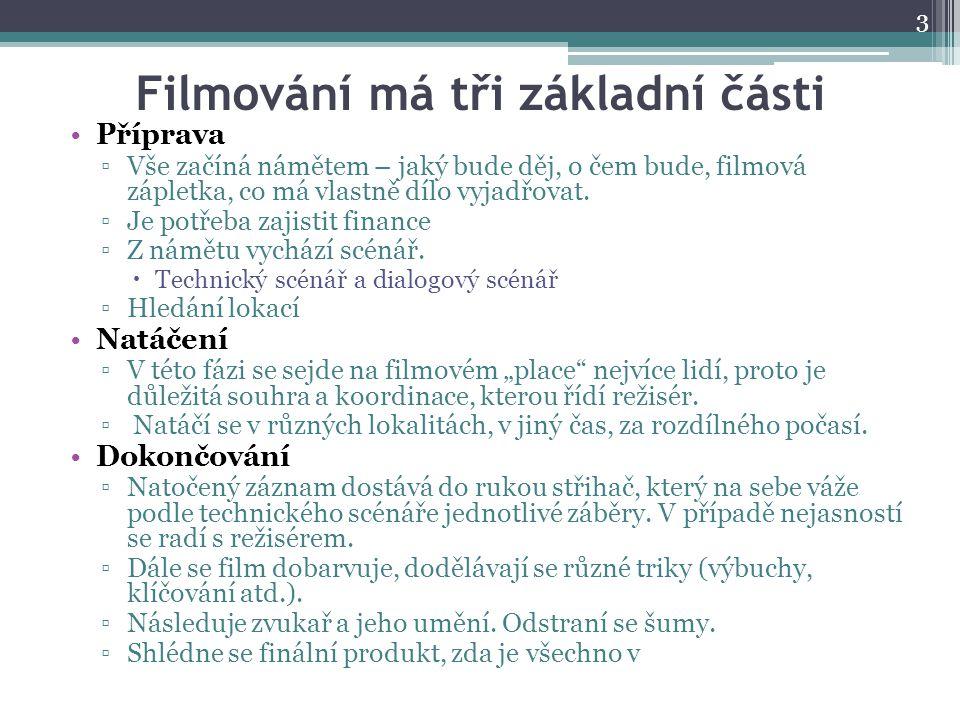 Filmování má tři základní části