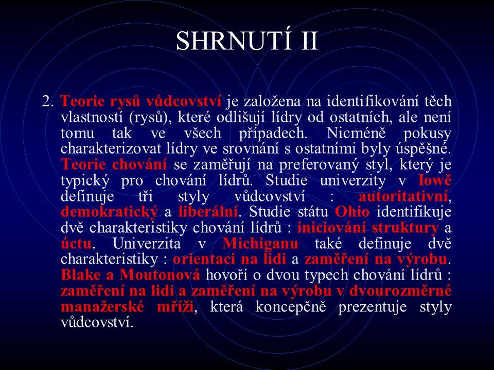 SHRNUTÍ II