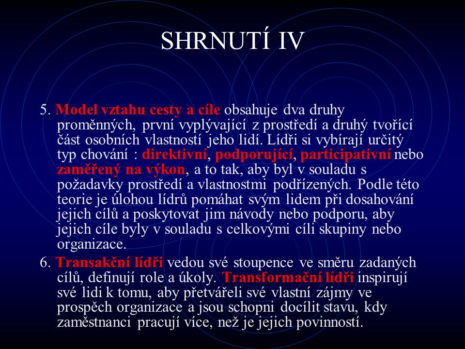 SHRNUTÍ IV
