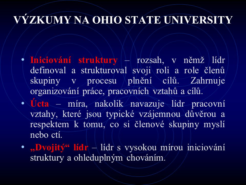 VÝZKUMY NA OHIO STATE UNIVERSITY