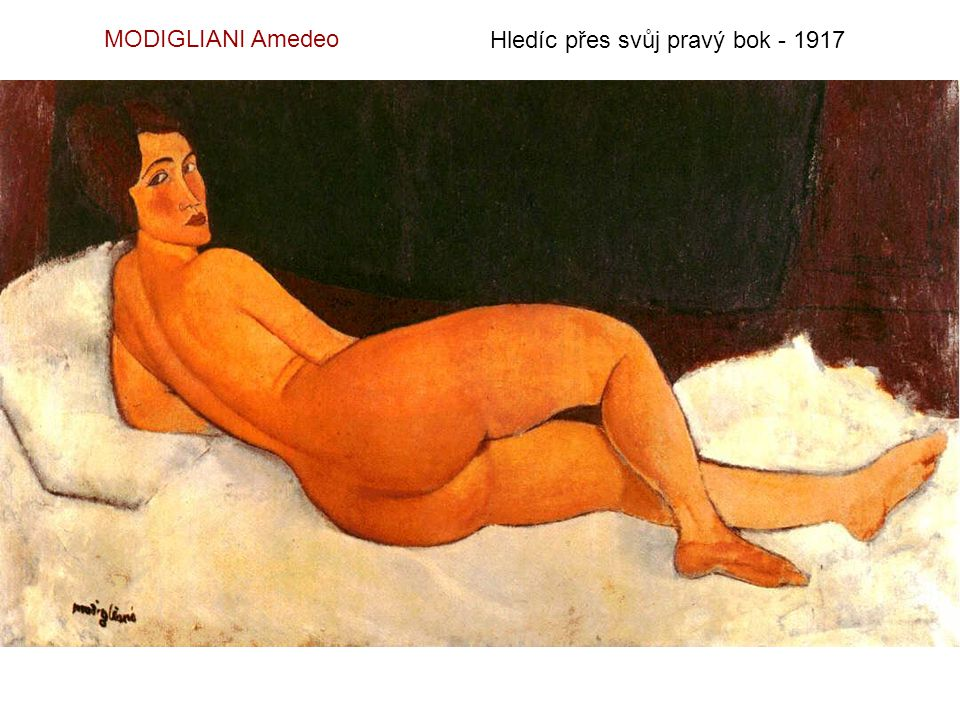 MODIGLIANI Amedeo Hledíc přes svůj pravý bok - 1917