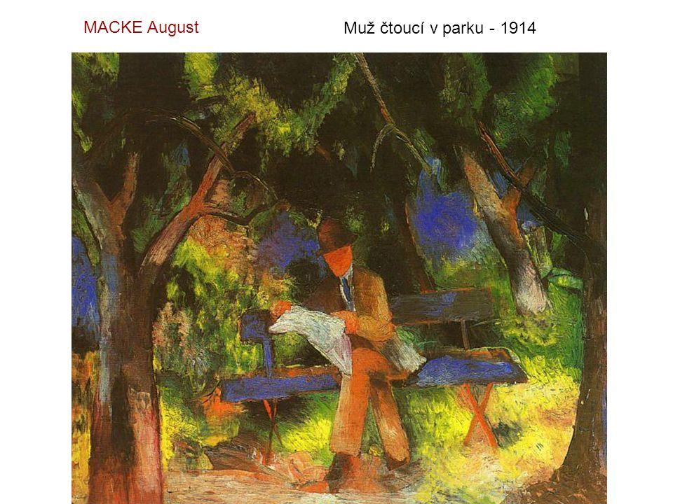 MACKE August Muž čtoucí v parku - 1914