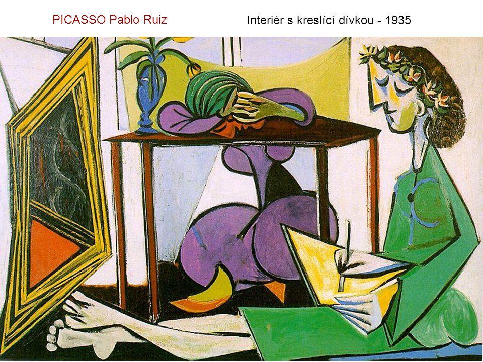PICASSO Pablo Ruiz Interiér s kreslící dívkou - 1935