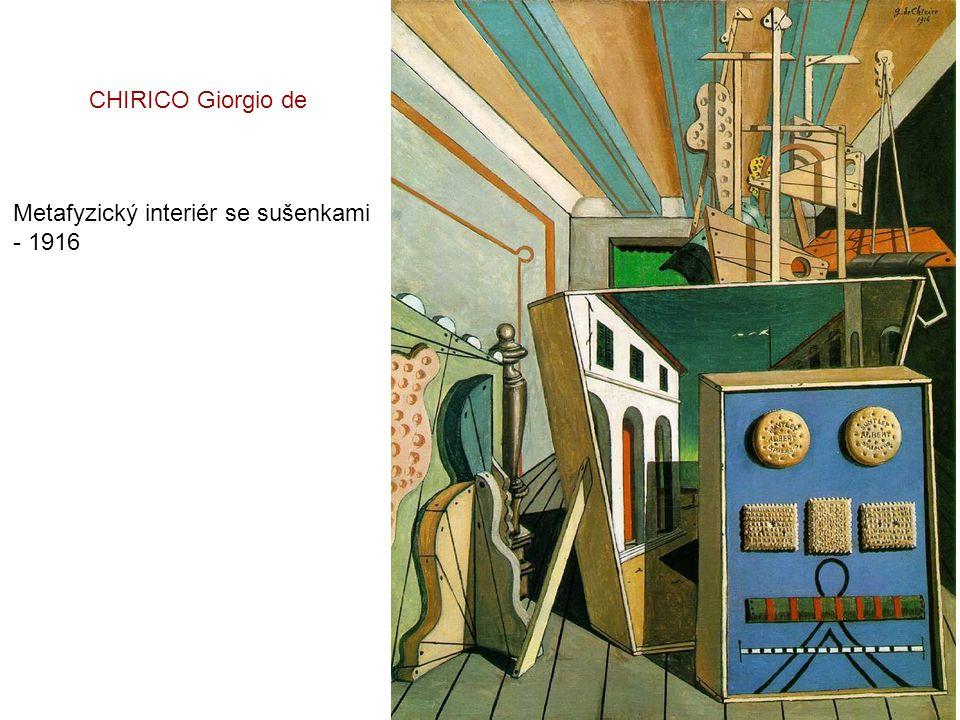 CHIRICO Giorgio de Metafyzický interiér se sušenkami - 1916