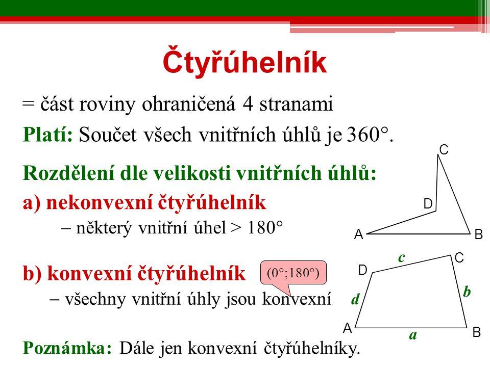 Čtyřúhelník = část roviny ohraničená 4 stranami
