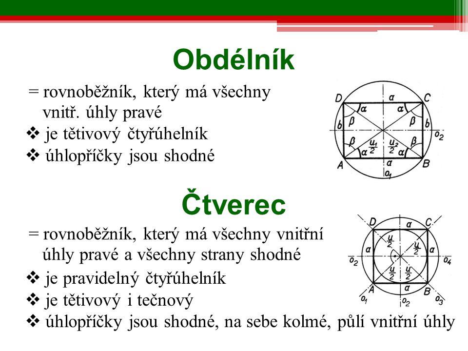 Obdélník Čtverec = rovnoběžník, který má všechny vnitř. úhly pravé