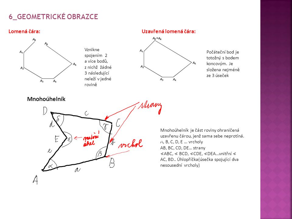 6_Geometrické obrazce Mnohoúhelník Lomená čára: Uzavřená lomená čára: