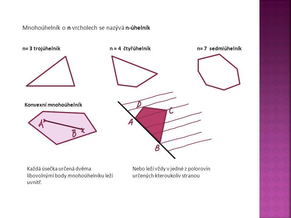 Mnohoúhelník o n vrcholech se nazývá n-úhelník