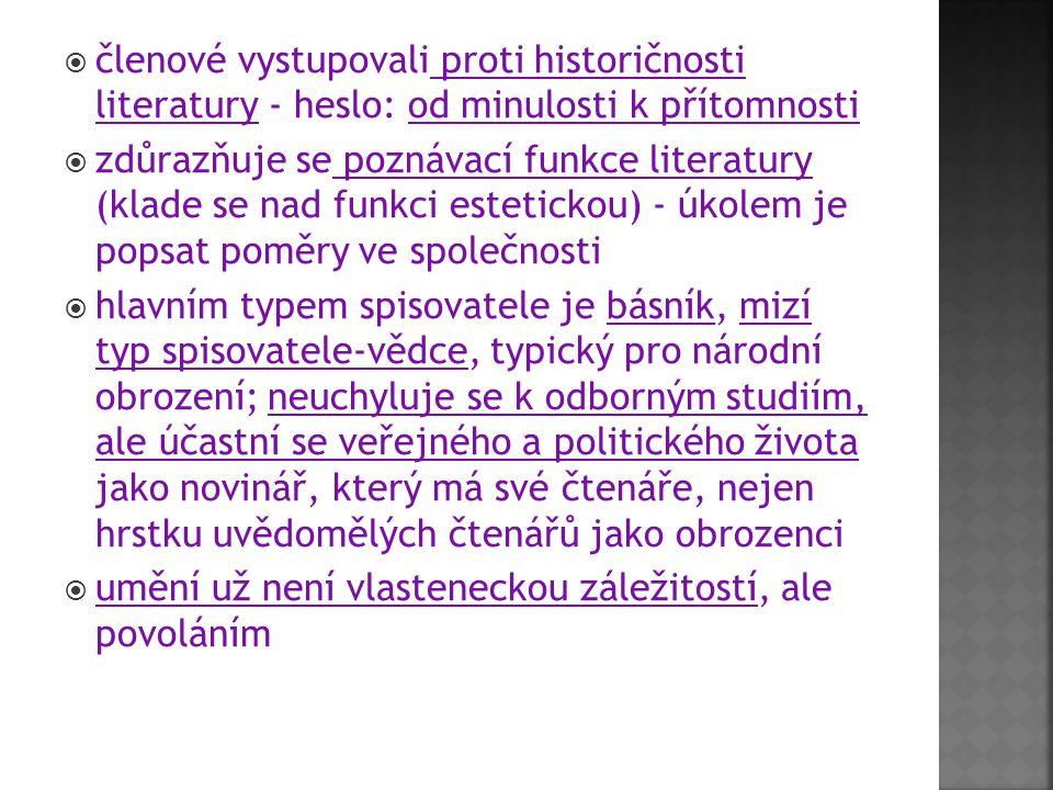 členové vystupovali proti historičnosti literatury - heslo: od minulosti k přítomnosti