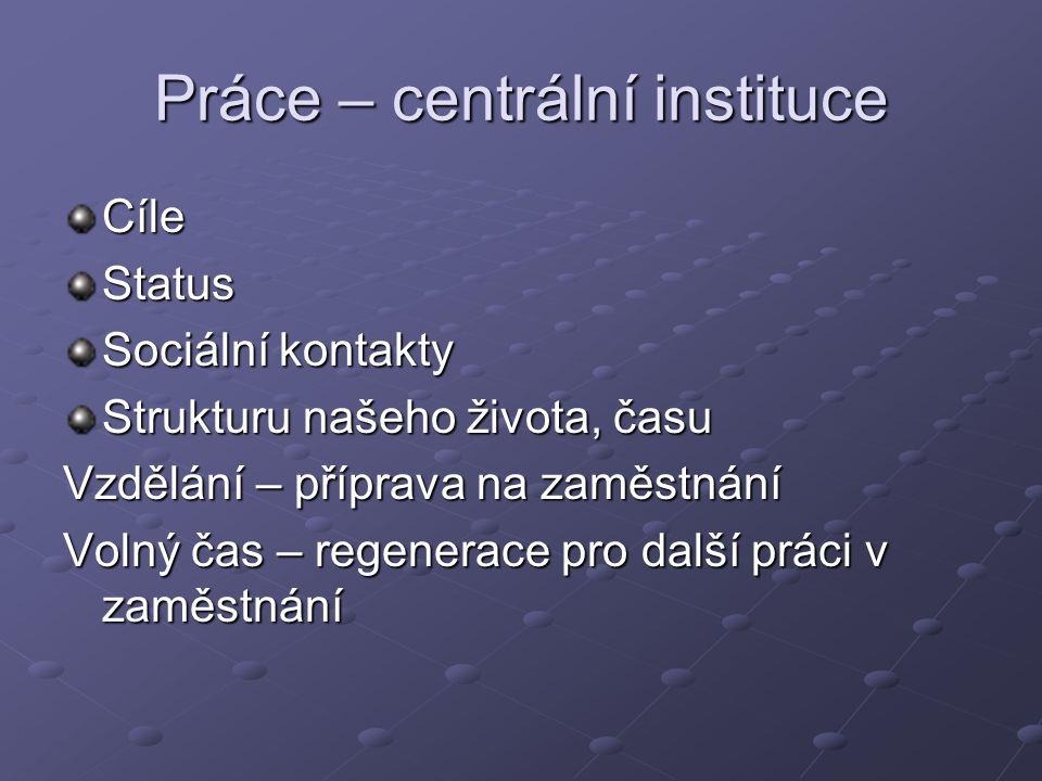 Práce – centrální instituce