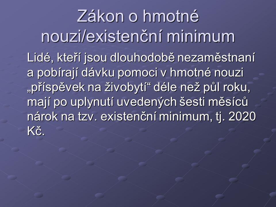 Zákon o hmotné nouzi/existenční minimum