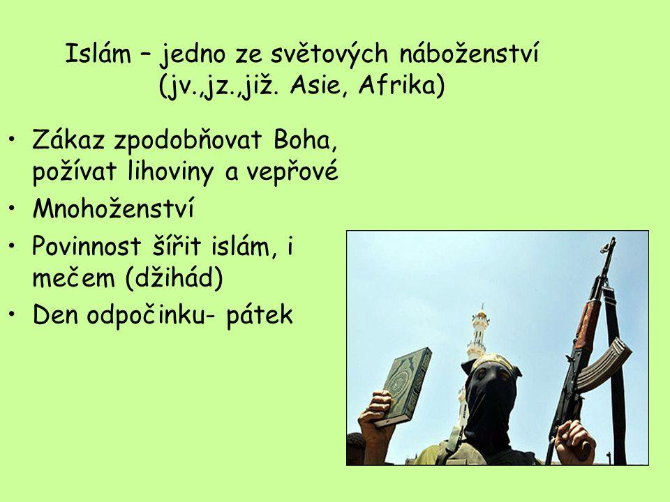 Islám – jedno ze světových náboženství (jv.,jz.,již. Asie, Afrika)