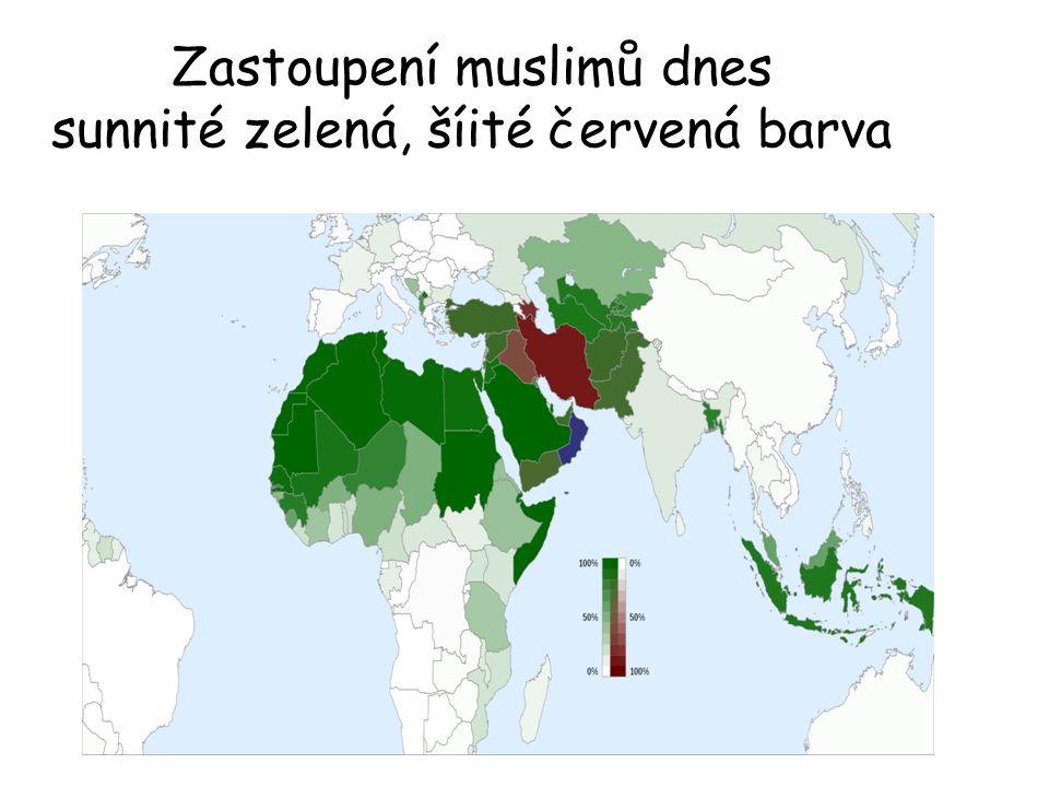 Zastoupení muslimů dnes sunnité zelená, šíité červená barva