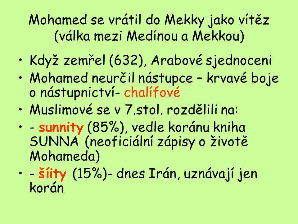 Mohamed se vrátil do Mekky jako vítěz (válka mezi Medínou a Mekkou)