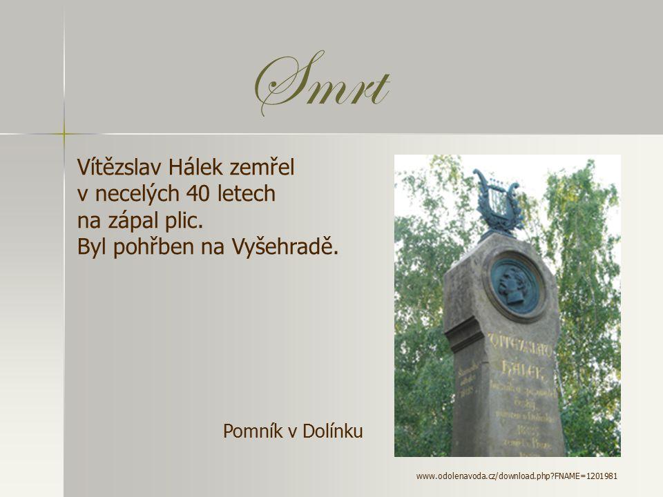 Smrt Vítězslav Hálek zemřel v necelých 40 letech na zápal plic.