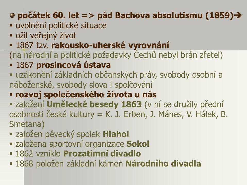 počátek 60. let => pád Bachova absolutismu (1859)