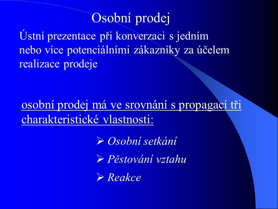 Osobní prodej Ústní prezentace při konverzaci s jedním. nebo více potenciálními zákazníky za účelem realizace prodeje.