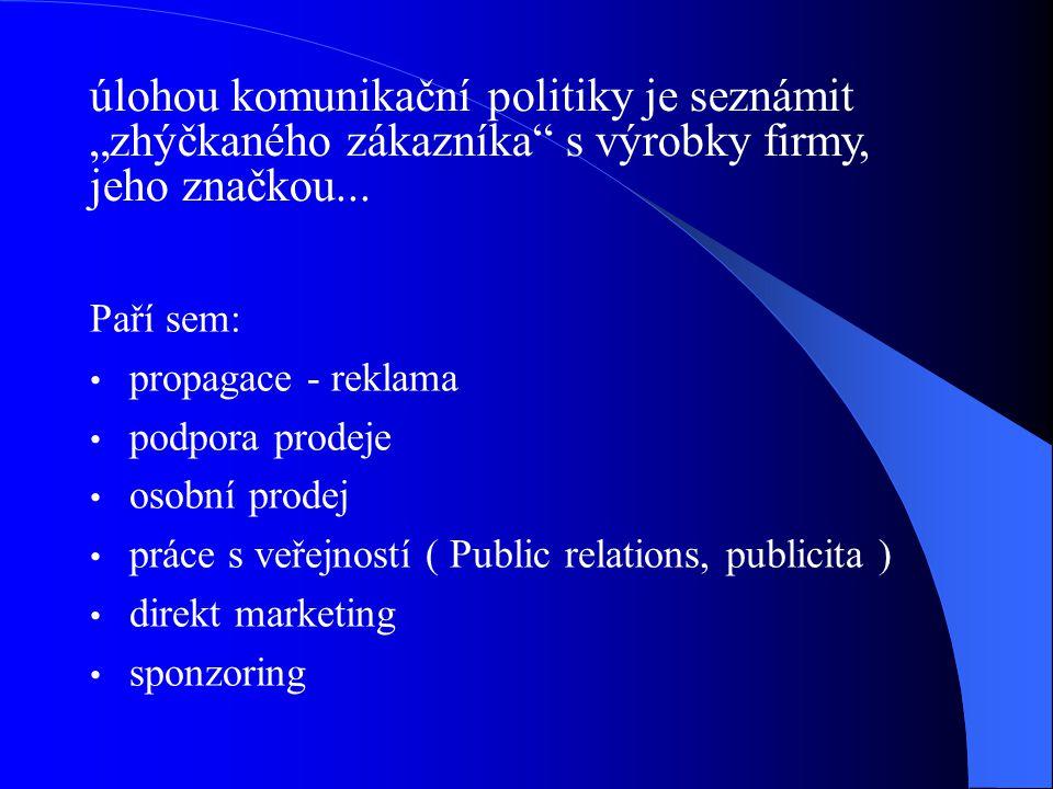 """úlohou komunikační politiky je seznámit """"zhýčkaného zákazníka s výrobky firmy, jeho značkou..."""