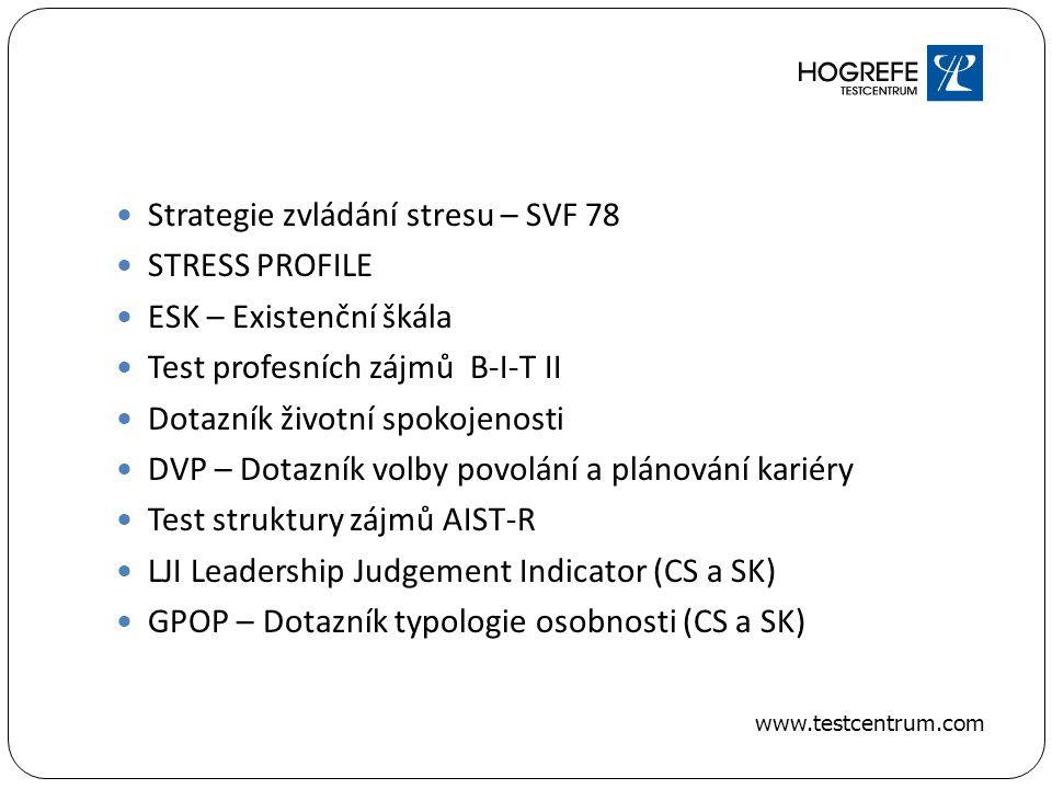 Strategie zvládání stresu – SVF 78 STRESS PROFILE