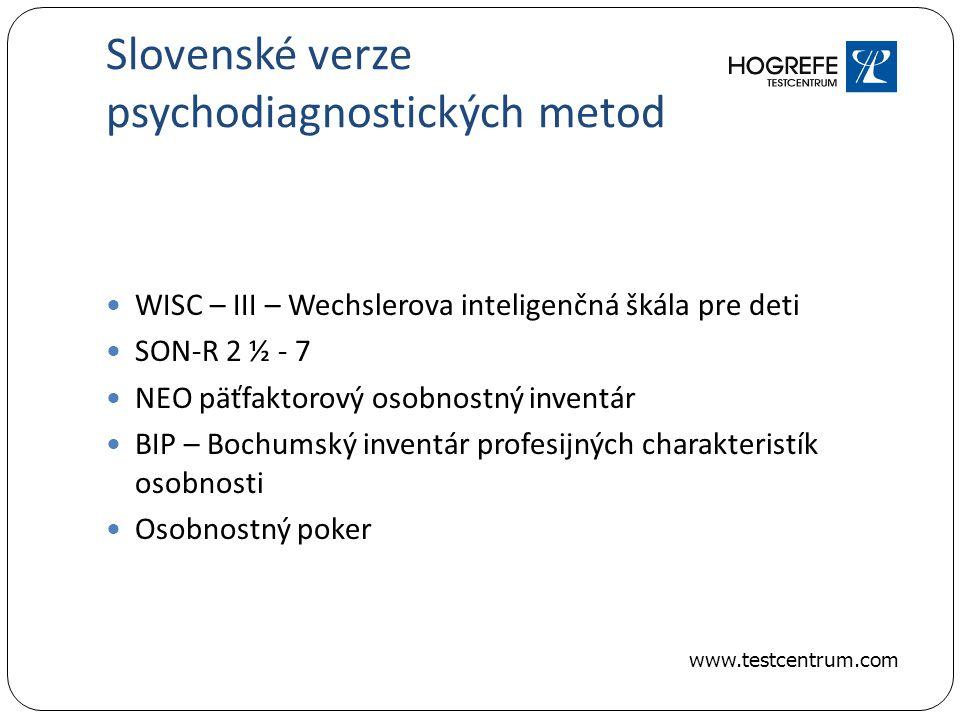 Slovenské verze psychodiagnostických metod