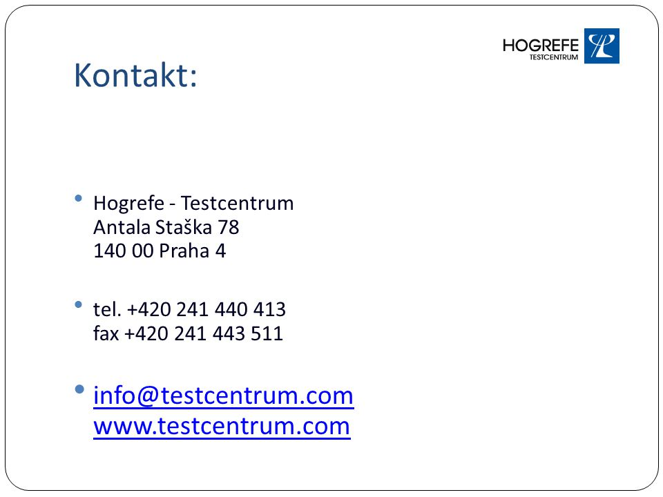 Kontakt: info@testcentrum.com www.testcentrum.com