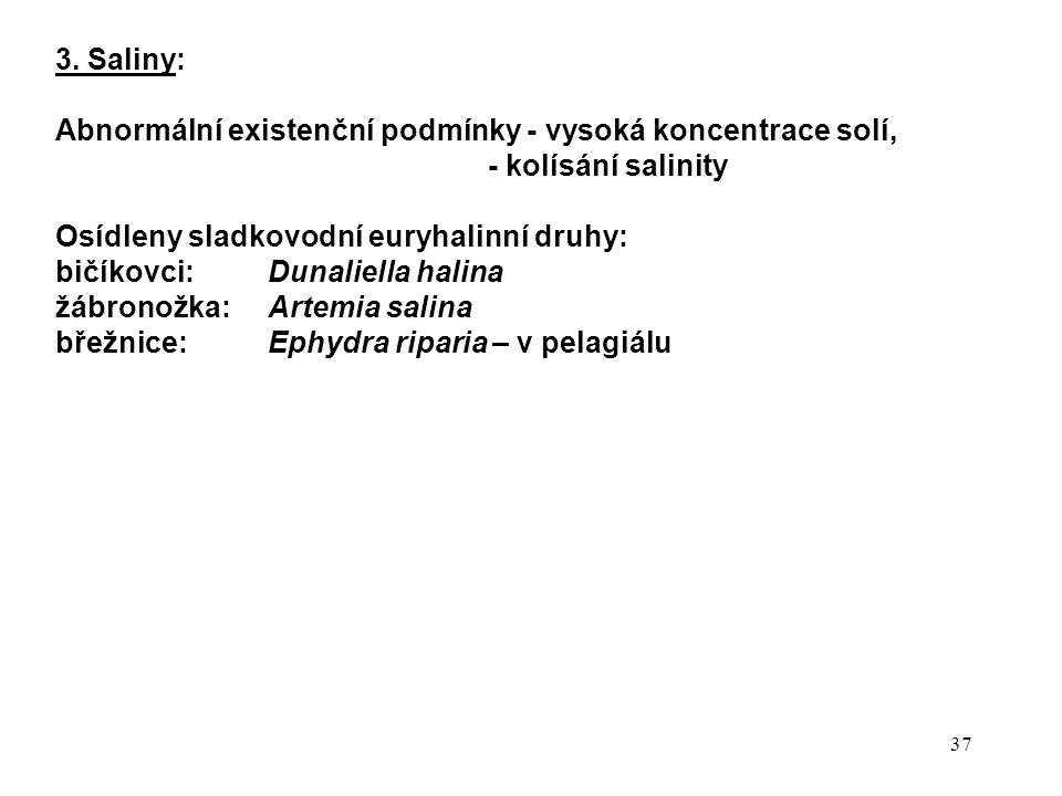 3. Saliny: Abnormální existenční podmínky - vysoká koncentrace solí, - kolísání salinity. Osídleny sladkovodní euryhalinní druhy: