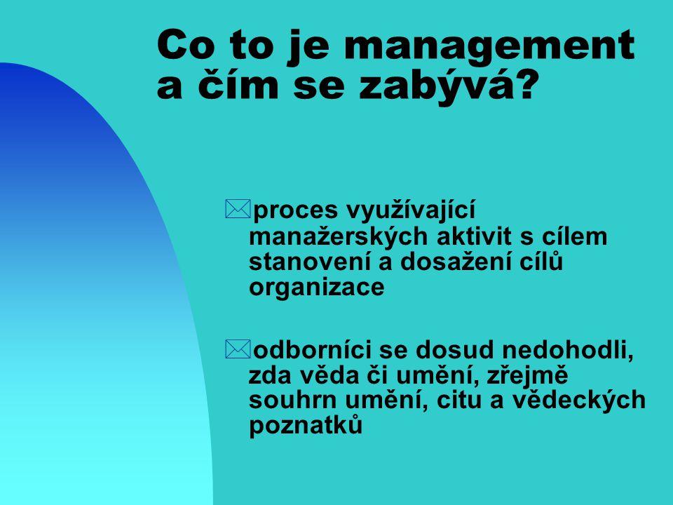 Co to je management a čím se zabývá