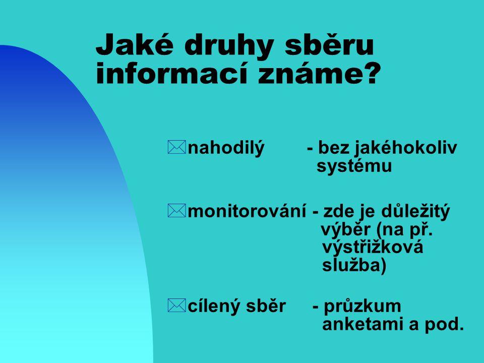 Jaké druhy sběru informací známe
