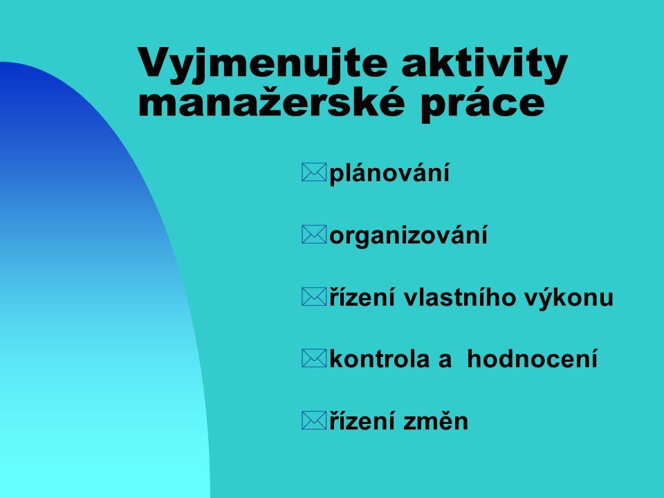 Vyjmenujte aktivity manažerské práce