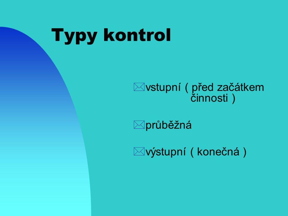 Typy kontrol vstupní ( před začátkem činnosti ) průběžná