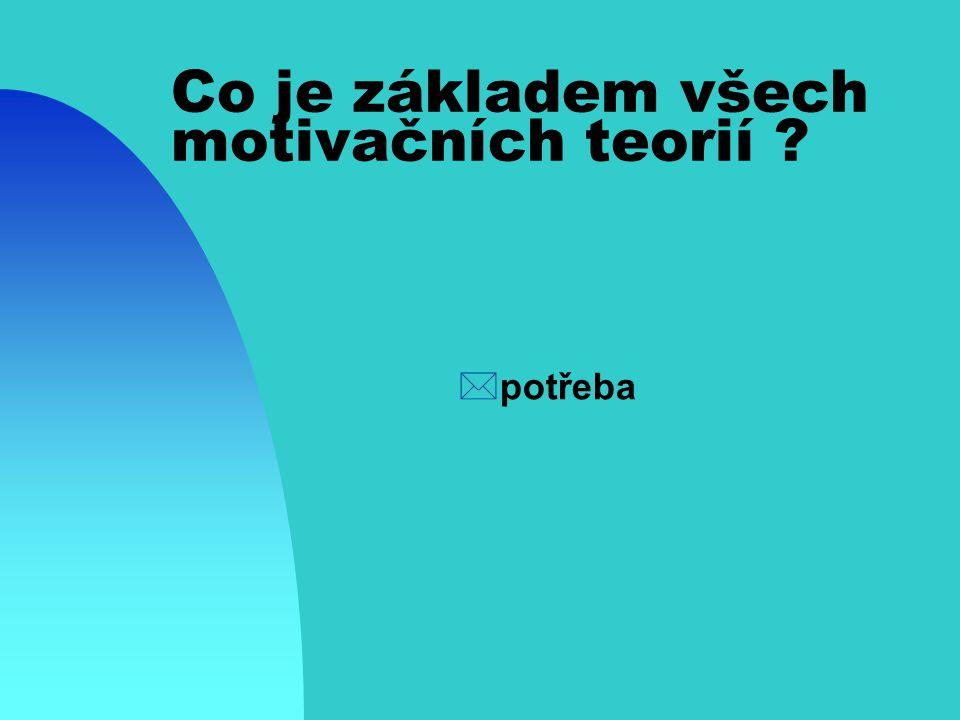 Co je základem všech motivačních teorií