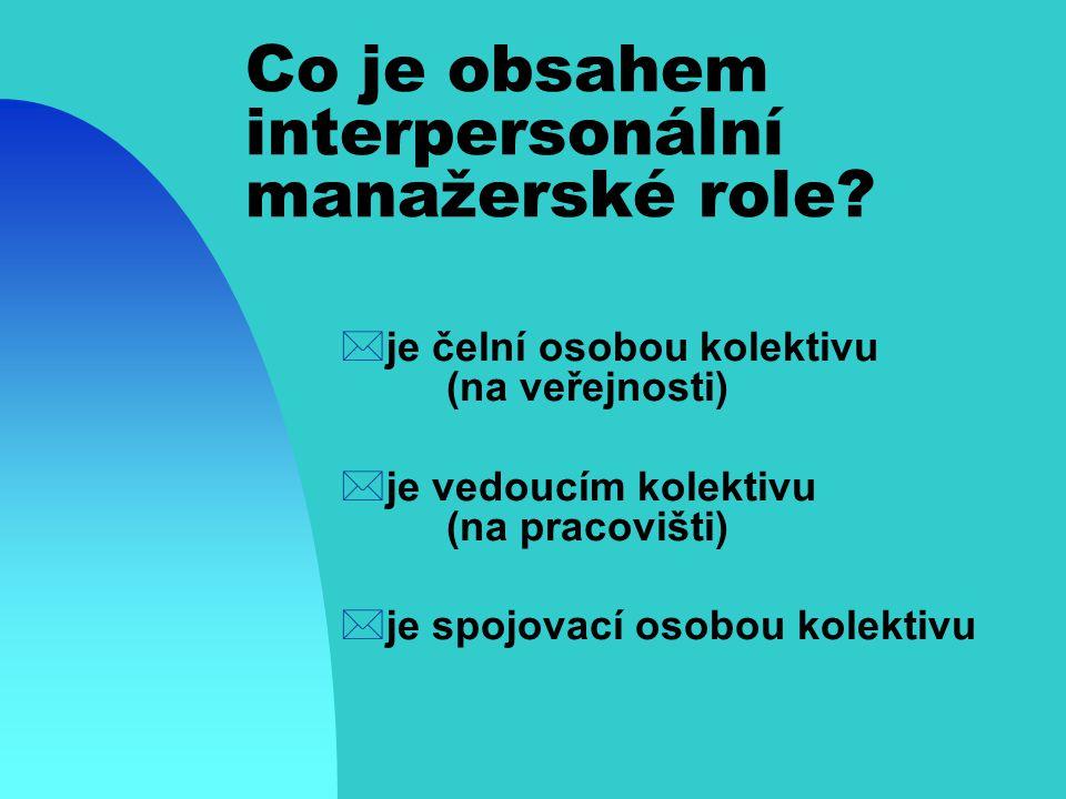 Co je obsahem interpersonální manažerské role