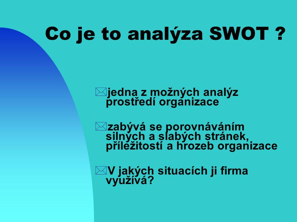Co je to analýza SWOT jedna z možných analýz prostředí organizace
