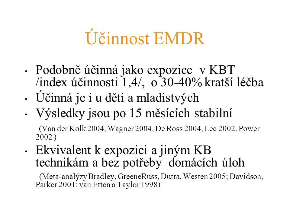 Účinnost EMDR Podobně účinná jako expozice v KBT /index účinnosti 1,4/, o 30-40% kratší léčba. Účinná je i u dětí a mladistvých.