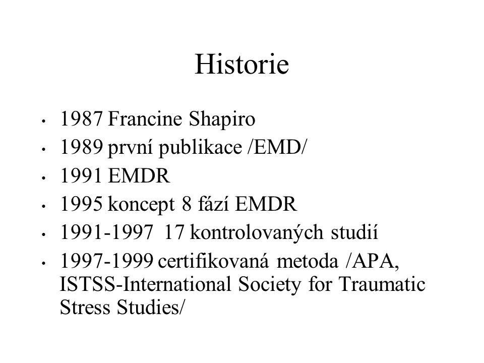 Historie 1987 Francine Shapiro 1989 první publikace /EMD/ 1991 EMDR