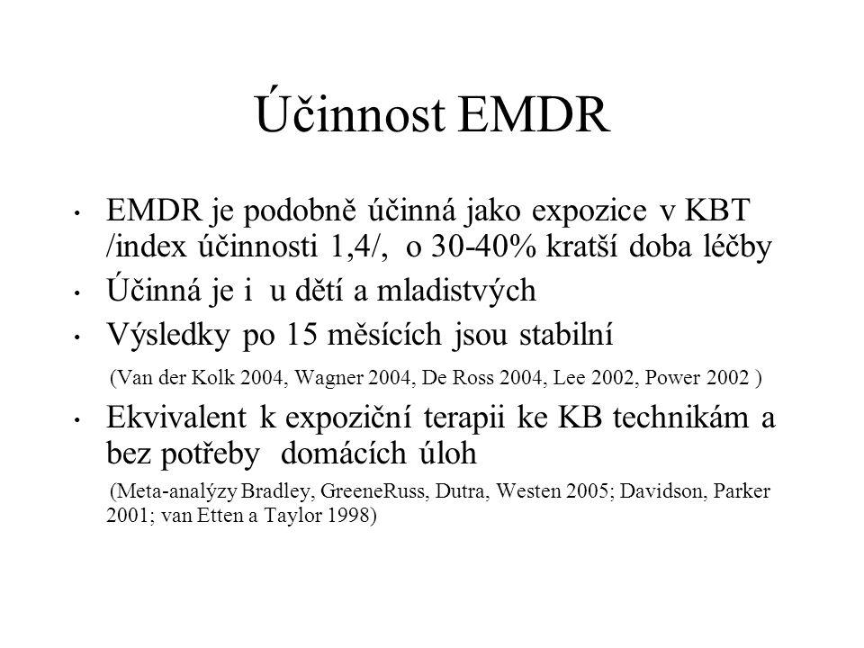 Účinnost EMDR EMDR je podobně účinná jako expozice v KBT /index účinnosti 1,4/, o 30-40% kratší doba léčby.