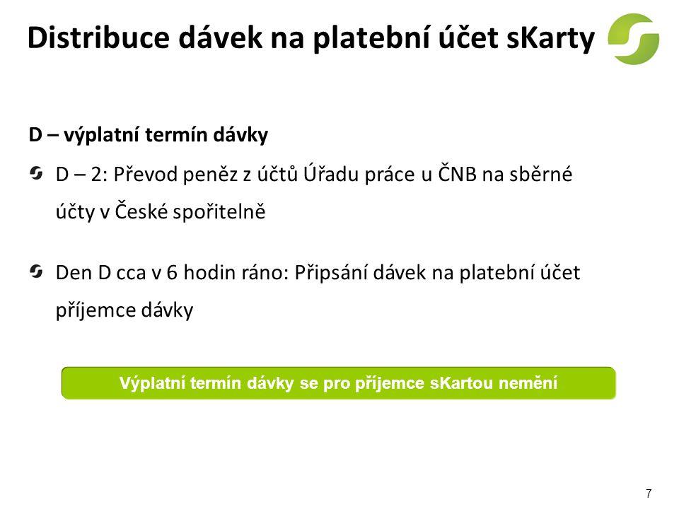 Distribuce dávek na platební účet sKarty