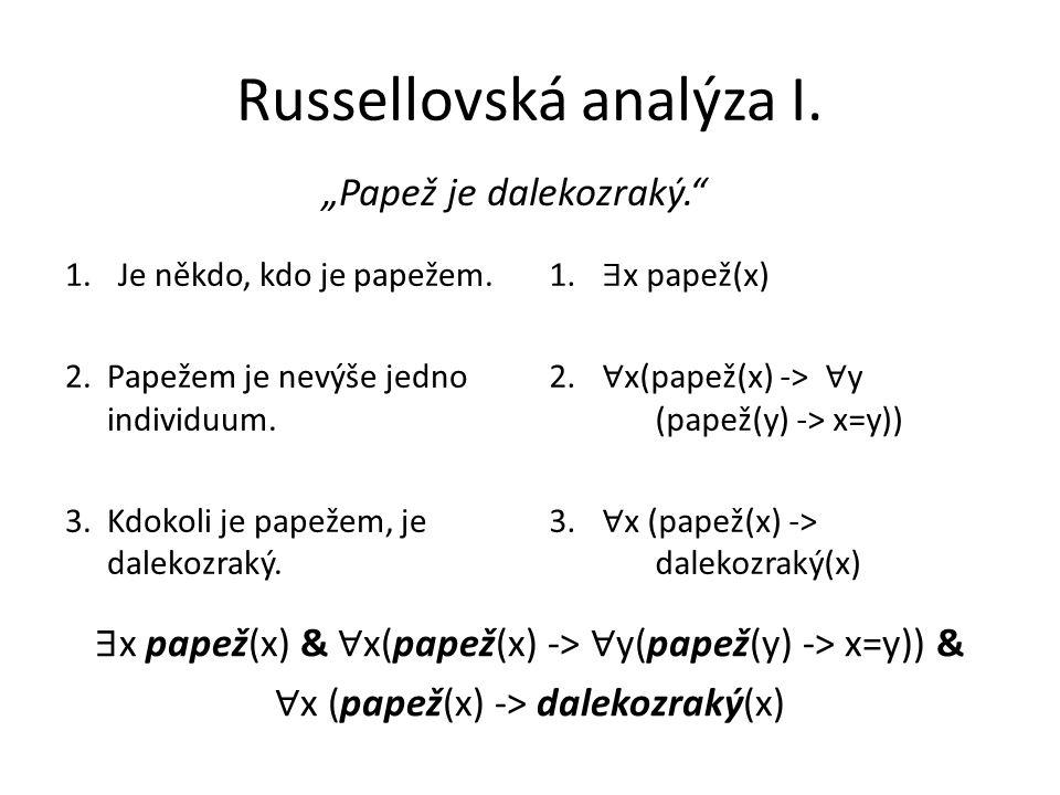 Russellovská analýza I.