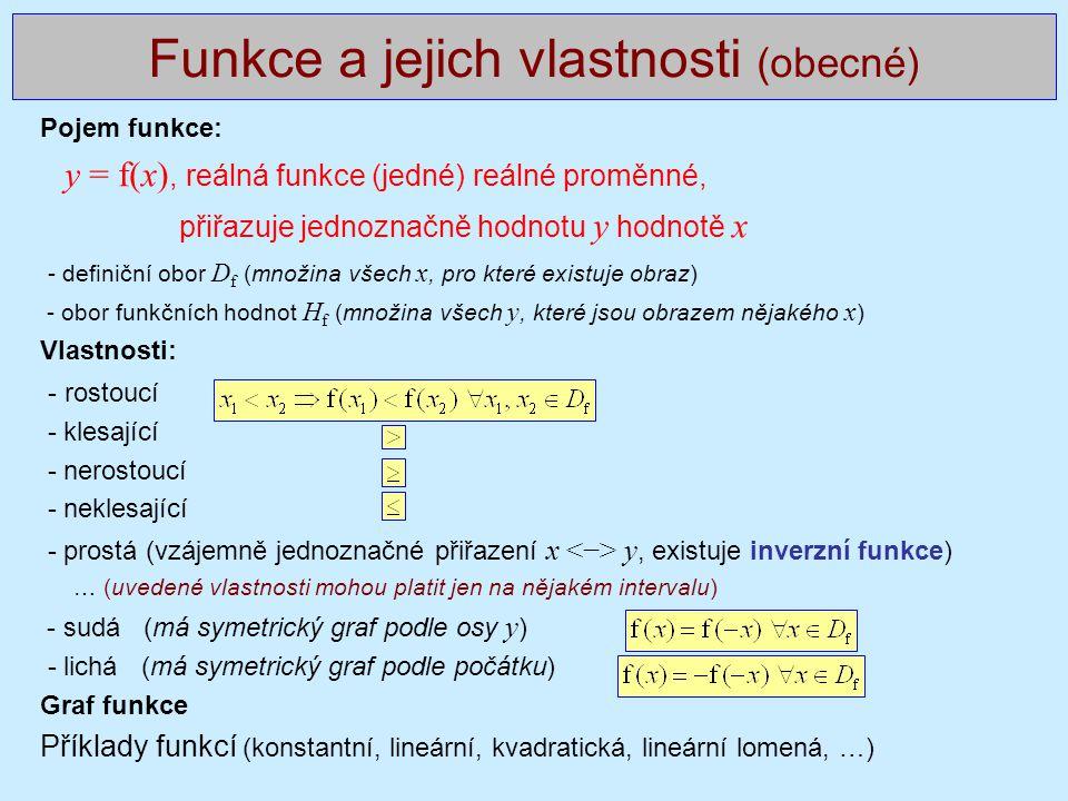 Funkce a jejich vlastnosti (obecné)