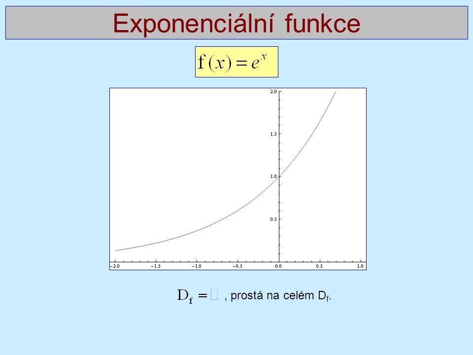 Exponenciální funkce , prostá na celém Df.