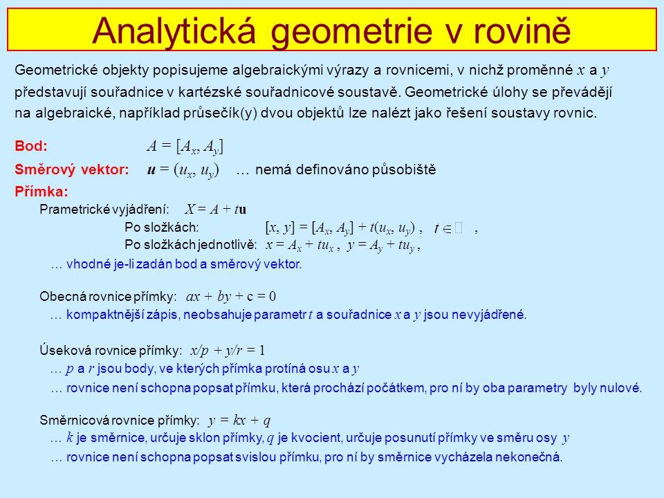 Analytická geometrie v rovině