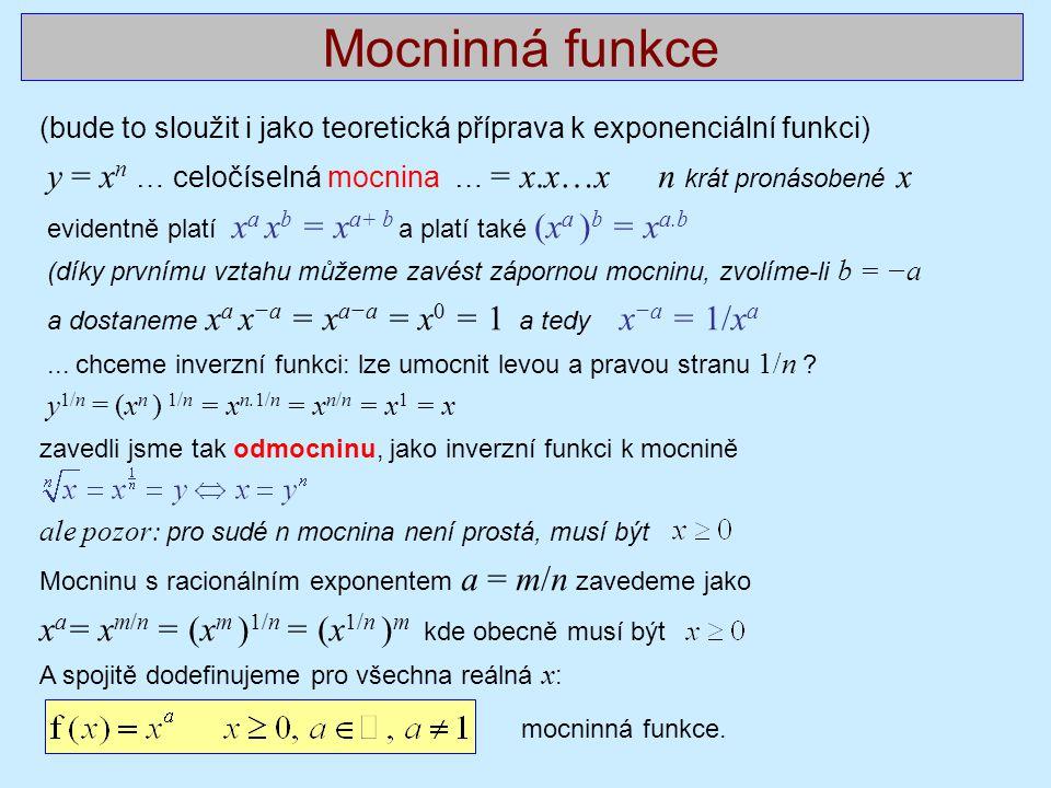 Mocninná funkce xa= xm/n = (xm )1/n = (x1/n )m kde obecně musí být