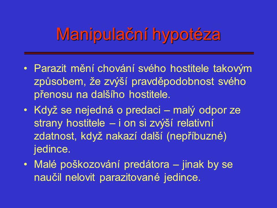 Manipulační hypotéza Parazit mění chování svého hostitele takovým způsobem, že zvýší pravděpodobnost svého přenosu na dalšího hostitele.