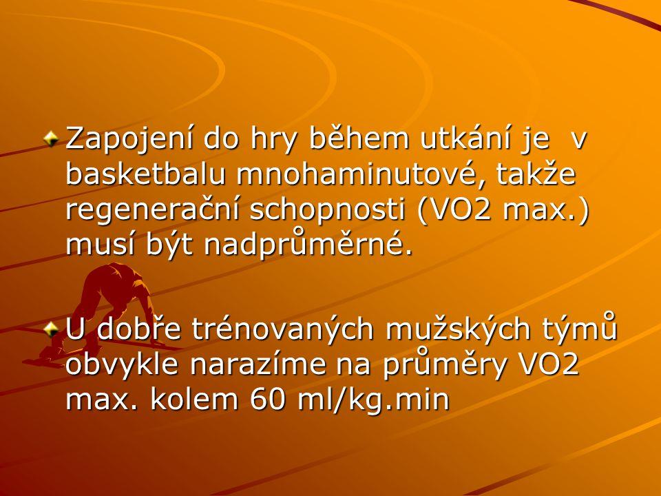 Zapojení do hry během utkání je v basketbalu mnohaminutové, takže regenerační schopnosti (VO2 max.) musí být nadprůměrné.