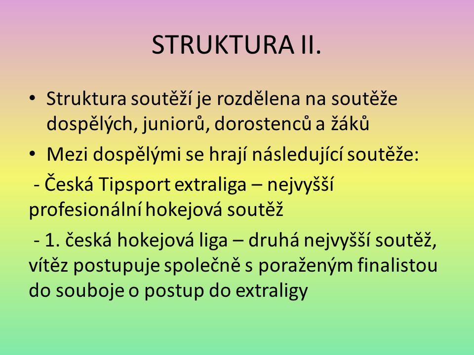 STRUKTURA II. Struktura soutěží je rozdělena na soutěže dospělých, juniorů, dorostenců a žáků. Mezi dospělými se hrají následující soutěže: