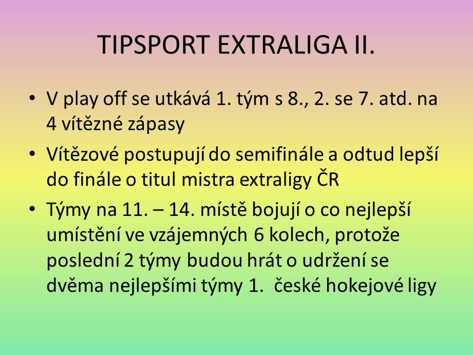 TIPSPORT EXTRALIGA II. V play off se utkává 1. tým s 8., 2. se 7. atd. na 4 vítězné zápasy.