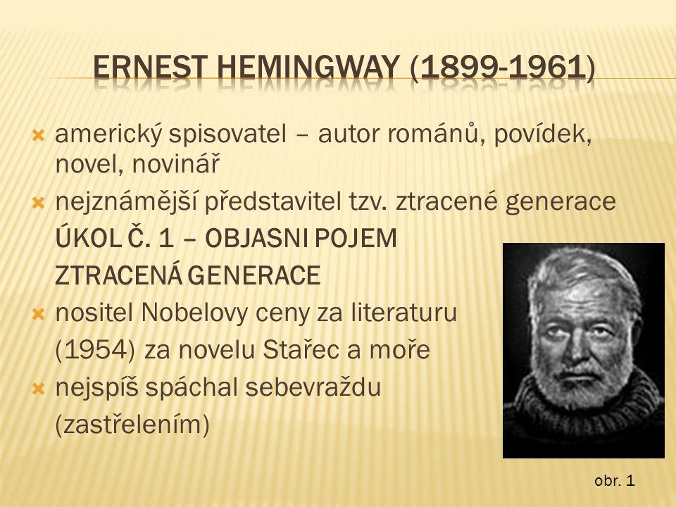 ERNEST HEMINGWAY (1899-1961) americký spisovatel – autor románů, povídek, novel, novinář. nejznámější představitel tzv. ztracené generace.
